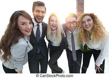 見る, カメラ, closeup.happy, ビジネス チーム