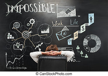 見る, カラフルである, リラックスした, シンボル, 黒板, 人