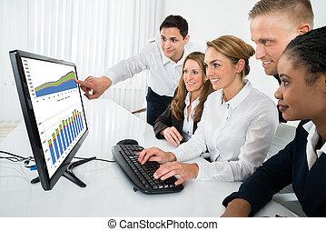見る, グラフ, コンピュータ, businesspeople
