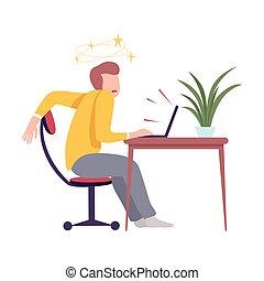 見る, コンピュータ, 平ら, 机, スクリーン, モデル, 若い, めまい, 男図解, ベクトル