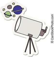 見る, ステッカー, 望遠鏡, 惑星, 漫画