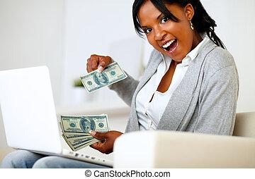 見る, ドル, 女, あなた, 驚かされる