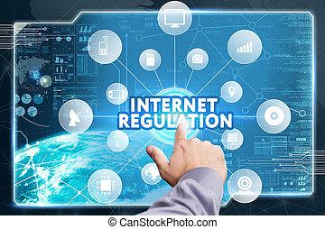 見る, ネットワーク, 仕事, inscription:, concept., 若い, 事実上, ビジネス, 規則, 未来, インターネット, ビジネスマン, スクリーン, 技術