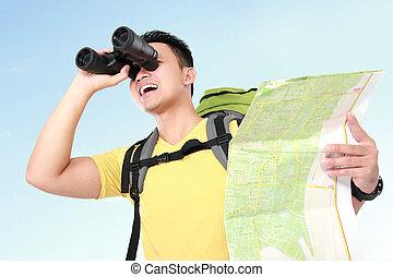 見る, ハイカー, 双眼鏡, 観光客, 人