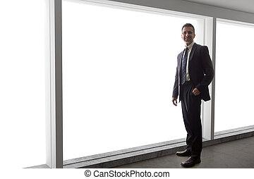 見る, ビジネスマン, 窓, から