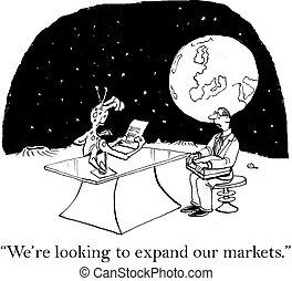 見る, マーケティング, 市場, 拡大しなさい, exec