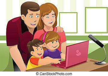 見る, ラップトップ, 家族, 幸せ