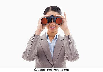 見る, 双眼鏡, によって, 女性実業家