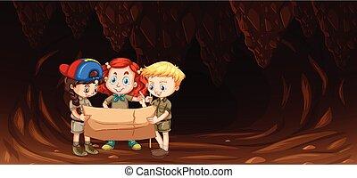 見る, 地図, 洞穴, 子供