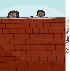 見る, 壁, 上に, 子供, 2