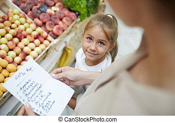 見る, 女の子, スーパーマーケット, 母