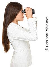 見る, 女性実業家, によって, 双眼鏡