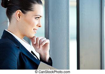 見る, 女性実業家, 外, 窓