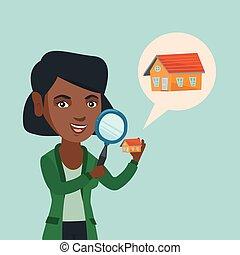 見る, 女, house., 若い, african-american