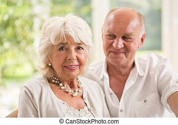 見る, 年長 人, 妻