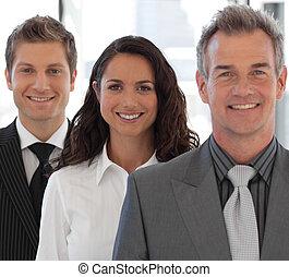 見る, 幸せ, カメラ, ビジネス チーム