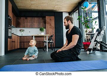 見る, 幼児, 父, 赤ん坊, 彼, 足, 次に, モデル, 彼の