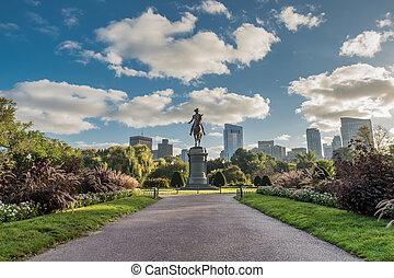 見る, 庭, ボストン, ワシントン, 下方に, 像, 通り道, 公衆
