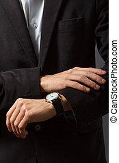 見る, 彼の, 腕時計, 人