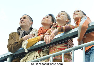 見る, 微笑, 公園, の上, 家族