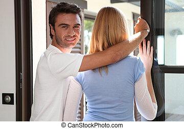 見る, 恋人, 窓, から