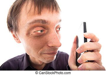 見る, 携帯電話, 人, weirdo, 醜い