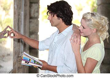 見る, 方向, 恋人, 観光客