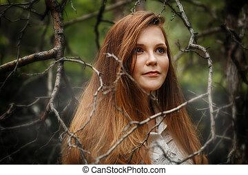 見る, 暗い, 離れて, 女, 森林