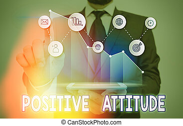 見る, 楽天的である, 概念, 執筆, attitude., 意味, テキスト, ある, 生活, よい, ポジティブ, things., 手書き