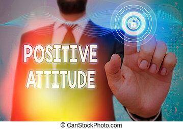 見る, 楽天的である, 概念, 意味, attitude., 生活, テキスト, ある, よい, ポジティブ, things., 手書き