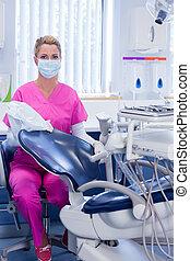 見る, 歯科医, カメラ, ごしごし洗う