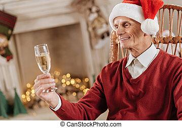 見る, 注意深い, 彼の, シャンペン, 人