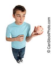 見る, 男の子, 箱, お金