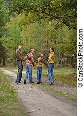 見る, 秋, 背中, 家族, 森林