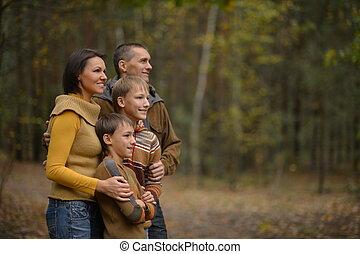 見る, 秋, 離れて, 森林, 家族