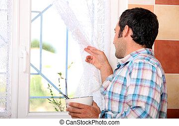 見る, 窓, 人, から
