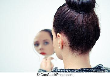 見る, 自己, 女, 反射, 鏡
