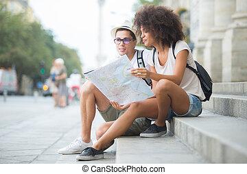 見る, 都市, 恋人, 観光客, 地図