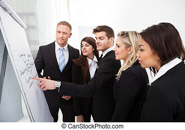 見る, businesspeople, flipchart