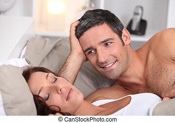 見る, deeply, 睡眠, 人, 妻