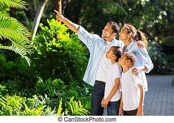 見る, indian, 公園, 指すこと, 家族