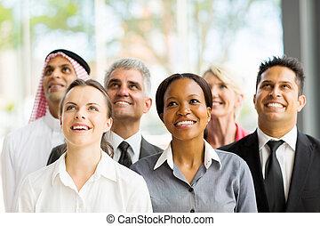 見る, multicultural, グループ, の上, ビジネス