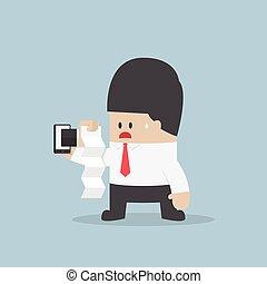 見る, smartphone, 手形, 衝撃を与えられた, ビジネスマン, あった