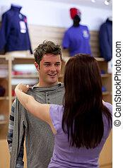 見る, sweat-shirt, 恋人, 明るい