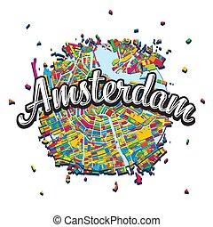 見出し, アムステルダム, 書かれた, 地図