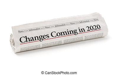 見出し, 回転した, 到来, 新聞, 2020, 変化する