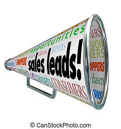 見込み, 顧客, 販売, リードする, bullhorn, 言葉, 新しい, メガホン