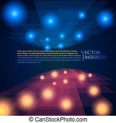 見通し, 光線, 背景, 抽象的, 青, 赤, モザイク