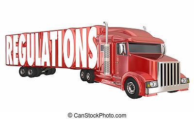 規則, トラック輸送, 交通機関, 出荷, 法律, 規則, 3d, イラスト