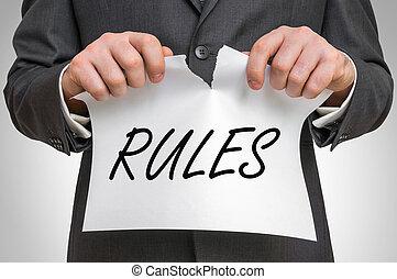 規則, ビジネスマン, 引き裂くこと, ペーパー, 単語